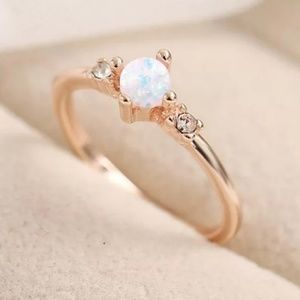 Delicate Rose Gold Fire Opal Stacker Ring